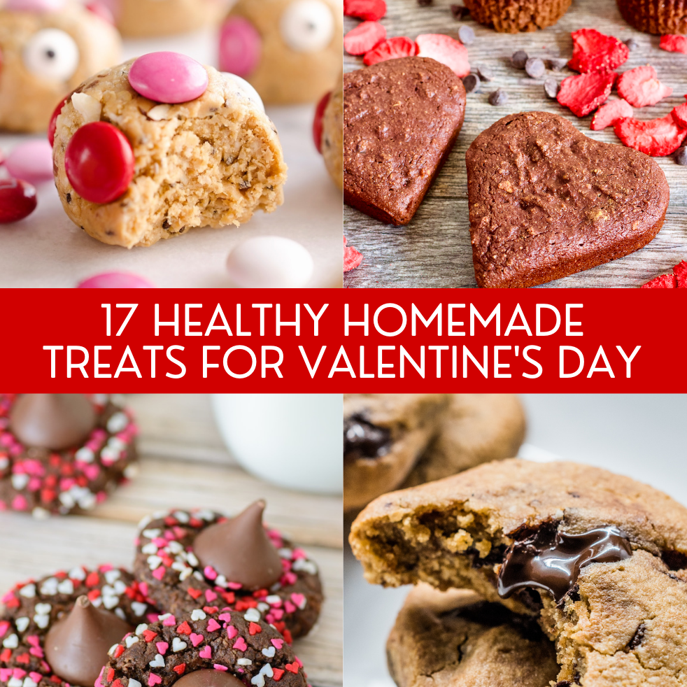 17 Healthy Homemade Treats for Valentine's Day | A round up of 17 healthy, homemade treats to make and enjoy for Valentine's Day! Festive treats that are also GOOD for you.