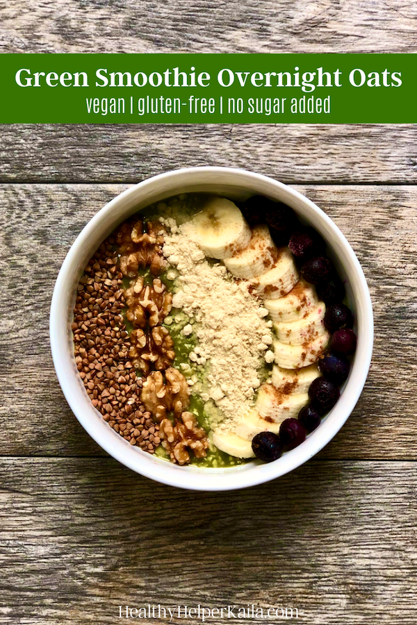 Green Smoothie Overnight Oats | The perfect combination of two healthy breakfasts...overnight oats and a green smoothie! High fiber, vegan, gluten-free, and no added sugar. Full of nutrients to keep you going all day long.