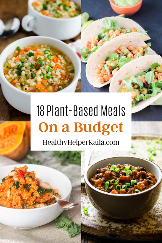 18 Plant-Based Meals on a Budget | A roundup of healthy, wholesome meals that are 100% plant-based and easy on your budget! Plan a week of nutrition eats with this delicious roundup of cost effective, yet tasty recipes from around the web. Real food ingredients, creative dishes, and no animal products in sight!