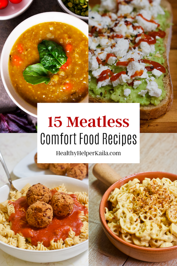 15 Meatless Comfort Food Meals | A round up of 15 comfort food meals that are 100% meatless! Vegetarian and vegan meals that are hearty and satisfying. Even meat-lovers won't miss the meat in these delicious meals!