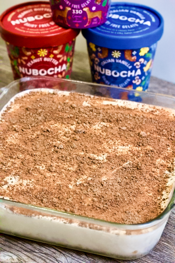 3-Ingredient Vegan Frozen Dessert Bars |Layered frozen dessert bars made with Nubocha Vegan Gelato. Only 3-ingredients needed to make this gluten-free, no added sugar treat.