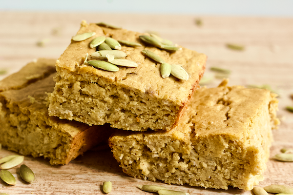 Baked Banana Pumpkin Spice Bars   High protein, soft-baked banana pumpkin spice bars are perfect for a healthy snack when you're craving something sweet! Gluten-free and made with no added sugar.