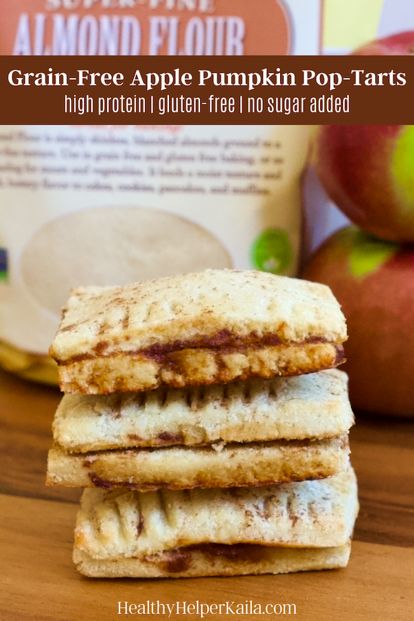 Grain-Free Apple Pumpkin Pop-Tarts | Homemade, healthy pop-tarts filled with the flavors of fall! These Apple Pumpkin Protein Pop-Tarts are grain-free, have no added sugar, and are super easy to make. A great alternative to traditional toaster pastries.