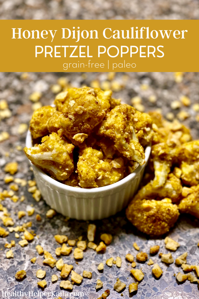 Honey Dijon Cauliflower Pretzel Poppers | Savory cauliflower bites coated with grain-free honey dijon pretzels. Crunchy on the outside, perfectly cooked inside. Paleo-friendly, gluten-free, and easy to make.