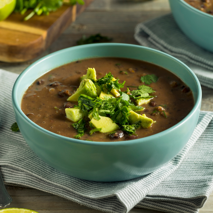 Easy Vegan Instant Pot Black Bean Soup | Easy, healthy black bean soup made in the Instant Pot! Vegan, gluten-free, full of fiber, and high protein. A great option for meal prep for a healthy lunch all week long.