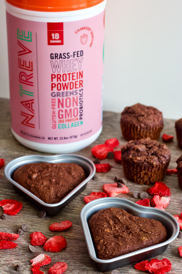Chocolate Covered Strawberry Muffins | Fruity, chocolatey protein muffins that taste like sweet, chocolate covered strawberries! These healthy muffins are gluten-free, oil-free, and have no added sugar. A delicious way to satisfy your sweet tooth!