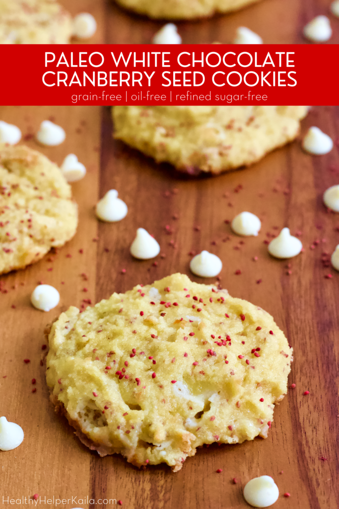 Paleo White Chocolate Chip Cranberry Seed Cookies | Soft baked paleo cookies made with almond flour and no refined sugars! Studded with antioxidant-rich cranberry seeds and sweet white chocolate chips, these cookies are gluten-free, grain-free, and oil-free.