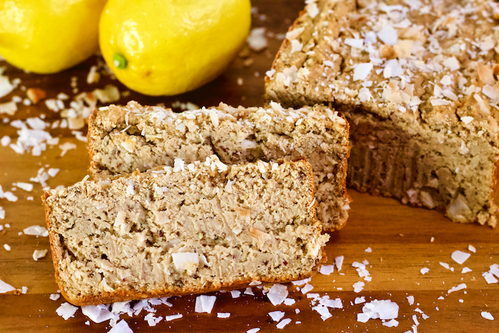 Vegan Lemon Coconut Loaf | This healthy, vegan Lemon Coconut Loaf is high protein, gluten-free, and has no added sugar. The perfect sweet snack or breakfast for Spring!
