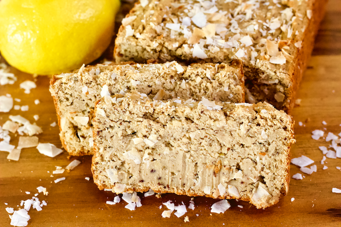 Vegan Lemon Coconut Bread  This healthy, vegetarian coconut bread is high in protein, gluten-free and sugar-free.  The perfect sweet breakfast or breakfast for spring!