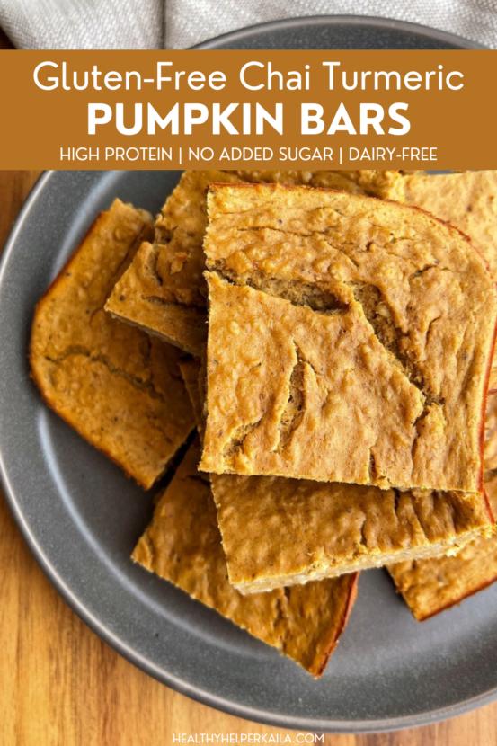 Gluten-Free Chai Turmeric Pumpkin Bars