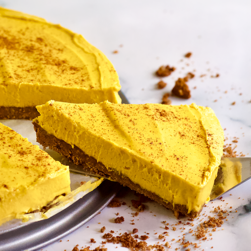 Healthy No-Bake Pumpkin Cheesecake with Ginger Snap Cookie Crust