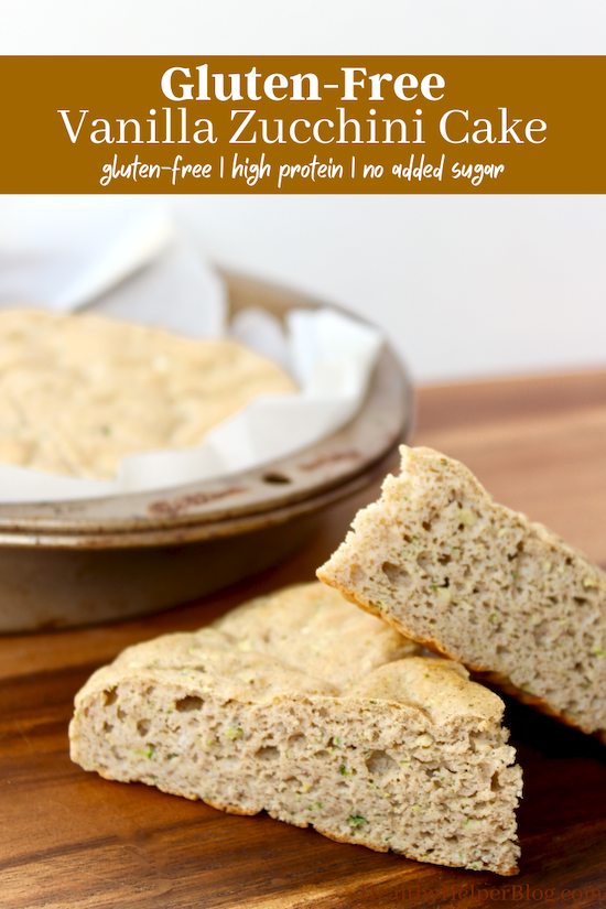 Gluten-Free Vanilla Zucchini Cake | Soft n' fluffy sweet cake full of vegetable goodness. This high protein, whole grain zucchini cake is the perfect dessert or snack and can be topped with anything your heart desires! You can have your cake and eat it too with this recipe.